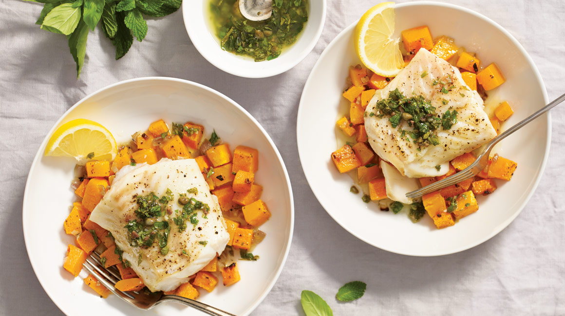 Cod with roasted butternut squash