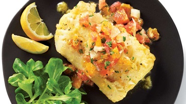 Marinated cod with citrus salsa