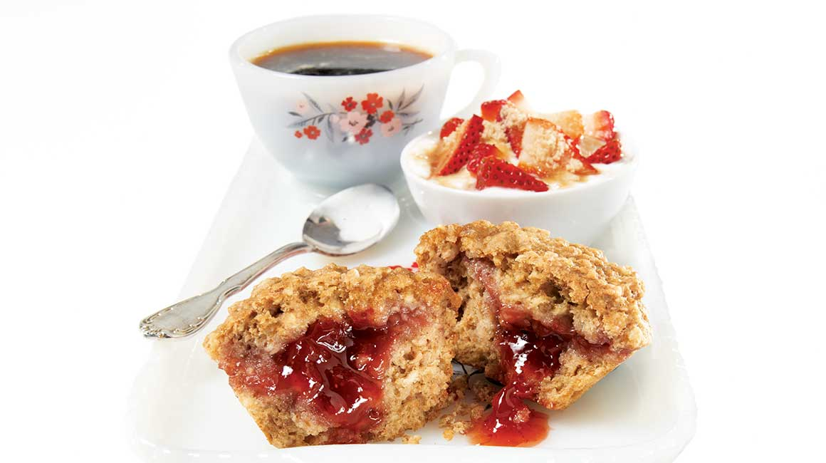 Strawberry-filled oatmeal muffins
