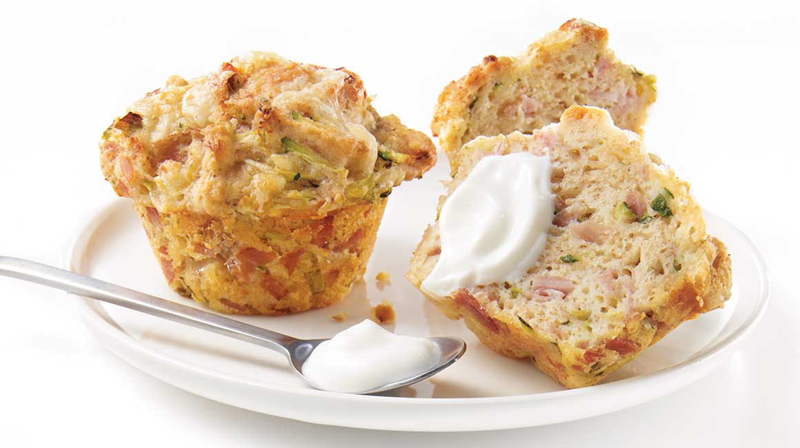 White ham and cheddar muffins