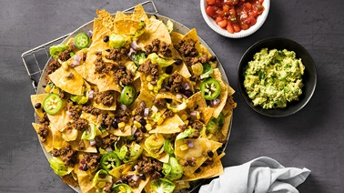 Cheesy Gourmet Beef, Corn and Jalapeno Nachos