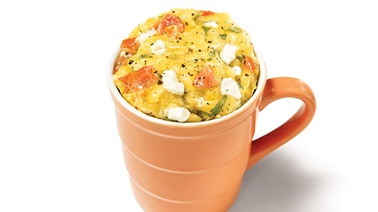 Goat cheese and basil breakfast omelette in a mug