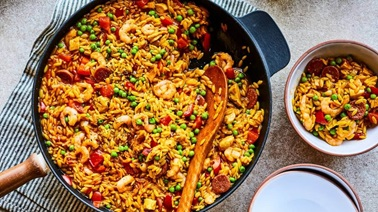 Quick Paella with Orzo by Geneviève O'Gleman