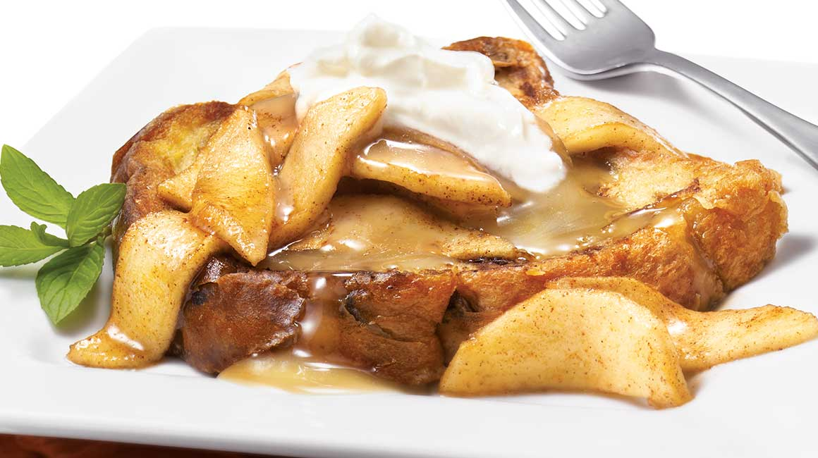French toast with apple topping and homemade caramel sauce