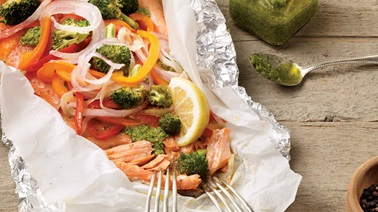 Steelhead trout and pesto in a packet
