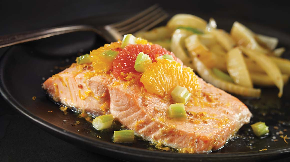 Packet-baked salmon with orange and pink grapefruit