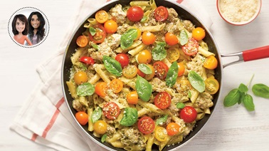 Creamy one-pot pasta with pesto and cherry tomatoes from Alexandra Diaz and Geneviève O'Gleman