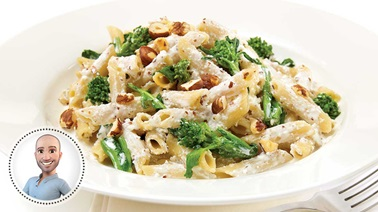 Broccolini, ricotta and hazelnut pasta
