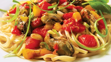 Pasta with Oysters and Tomatoes