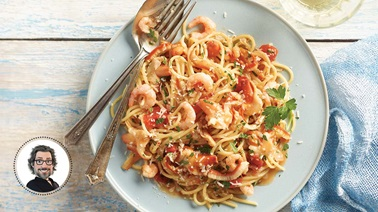 Stimpson's surf clam and shrimp pasta