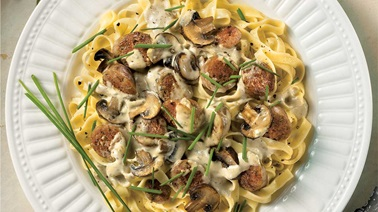 Sausage, mushroom and blue cheese pasta