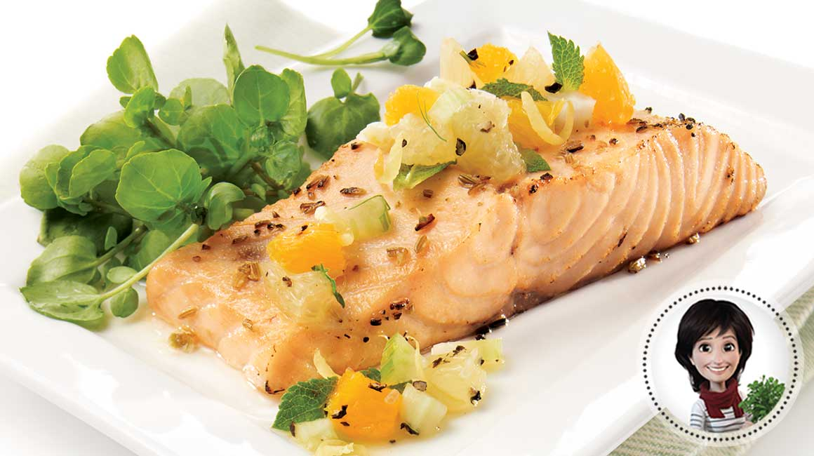 Salmon with fennel and orange salsa from Josée di Stasio