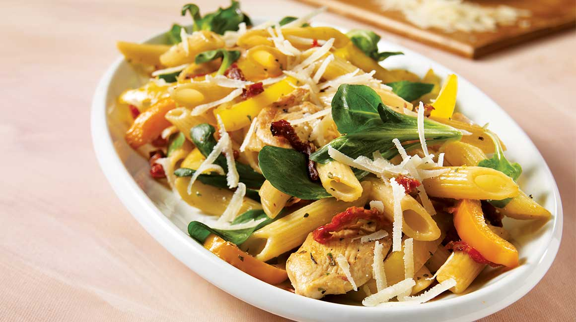 Chicken and mâche penne
