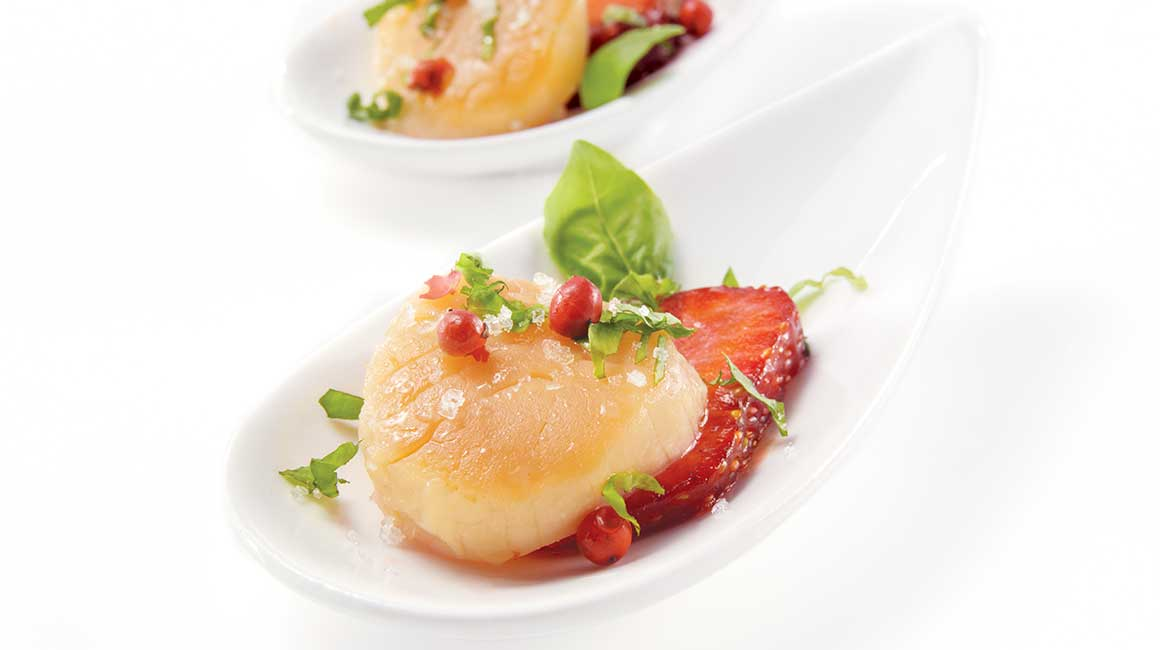 Smoked scallops with strawberries, basil, and pink pepper