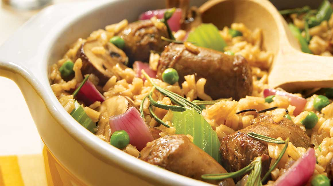 Beer and sausage pilaf