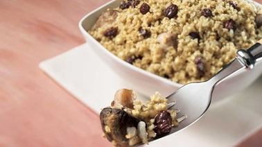 Roasted Millet Pilaf with Mushrooms and Raisins