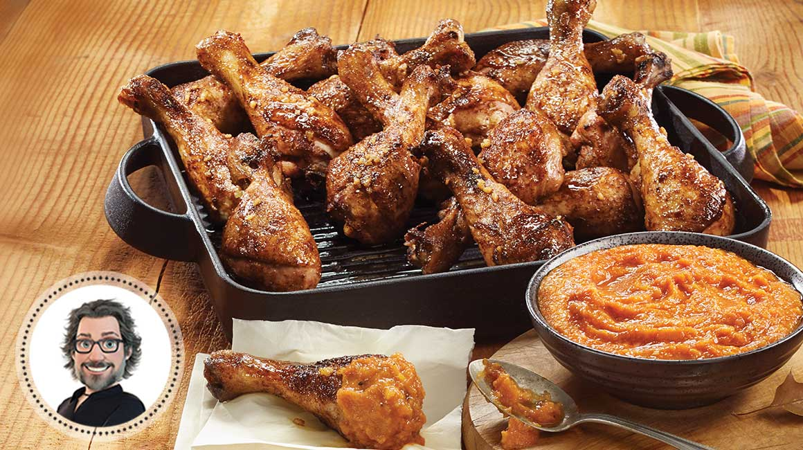 Five-spice chicken drumsticks with tomatoes