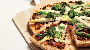 Pizza with eggplant and other garden vegetables
