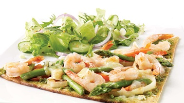 Pesto and shrimp pizza