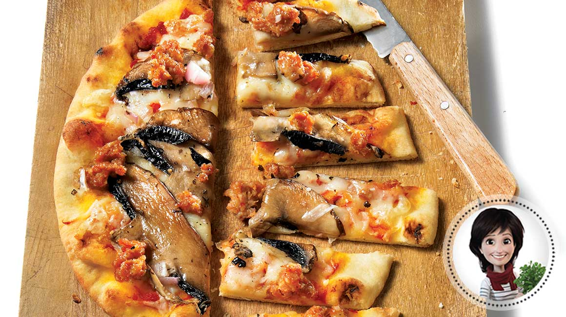 Sausage and mushroom pizza from Josée di Stasio