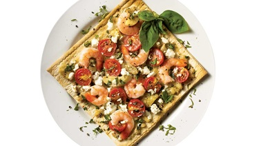 Shrimp, artichoke and goat cheese pizza