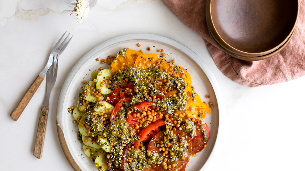 Rainbow Tomato, Cucumber and Lentil Platter With Honey