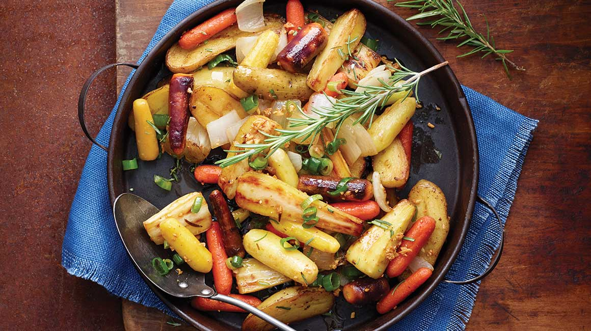 Root vegetables with rosemary