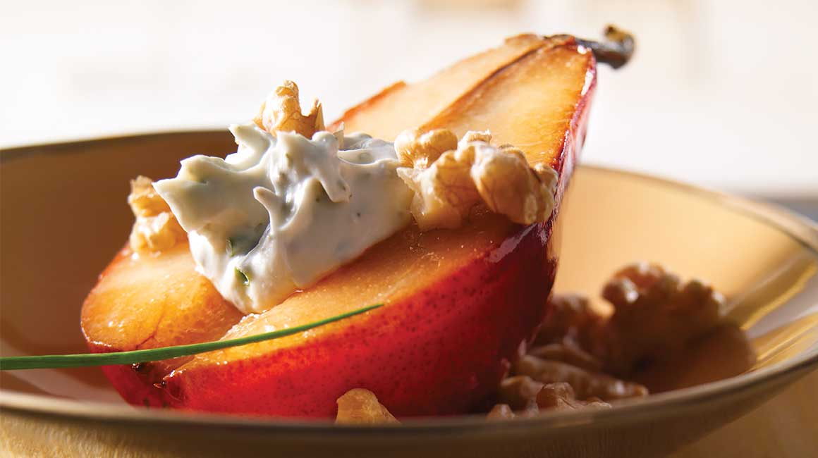 Pears Stuffed with Goat Cheese and Nuts