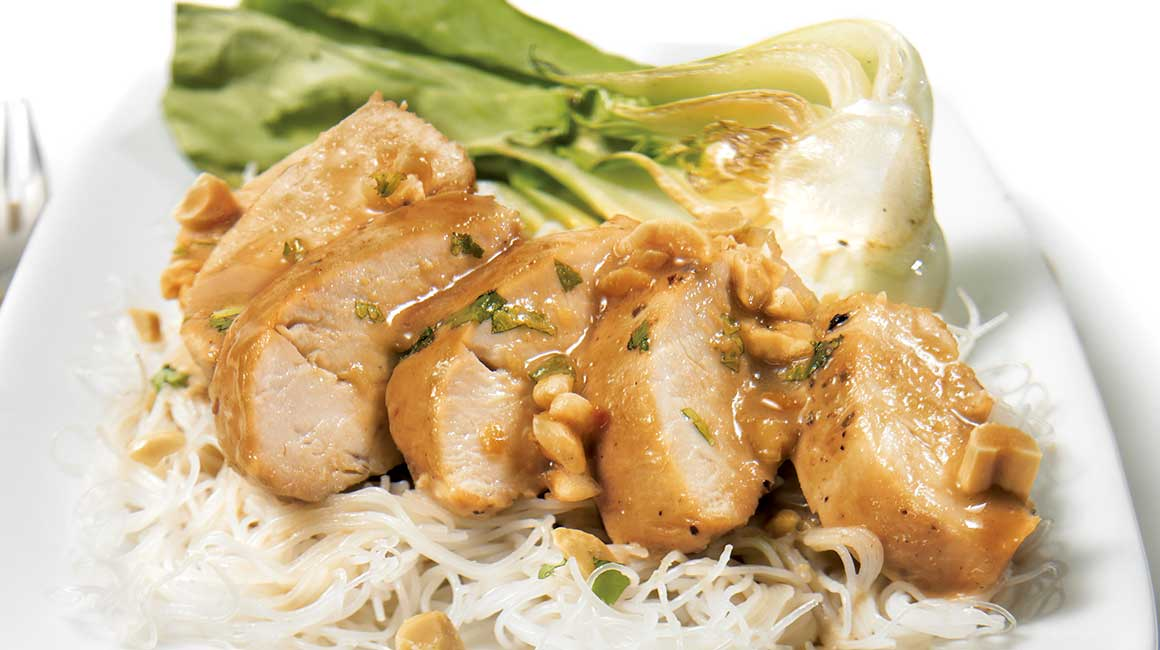 Chicken breasts and peanut sauce