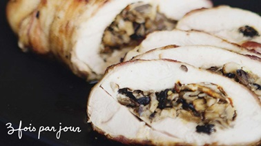 Mushroom stuffed turkey breast wrapped in bacon from Trois fois par jour