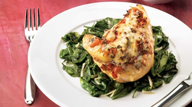 Gratinéed bruschetta chicken breasts with spinach