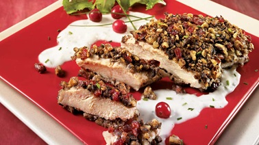 Pecan and Cranberry Chicken Breasts with Creamy Five-Pepper Sauce