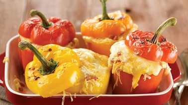 Spaghetti squash-stuffed peppers