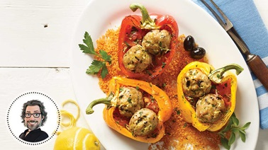 Greek-style stuffed peppers from Christian Bégin