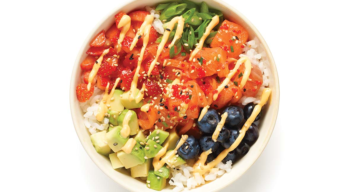 Spicy two-salmon poke