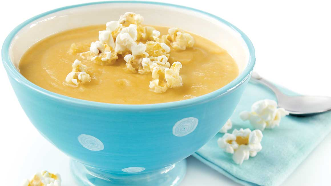 Sweet potato and popcorn soup