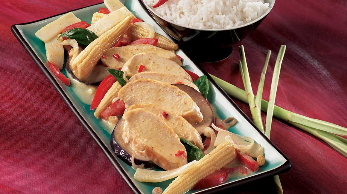 Red Curry, Basil and  Coconut-Milk Chicken