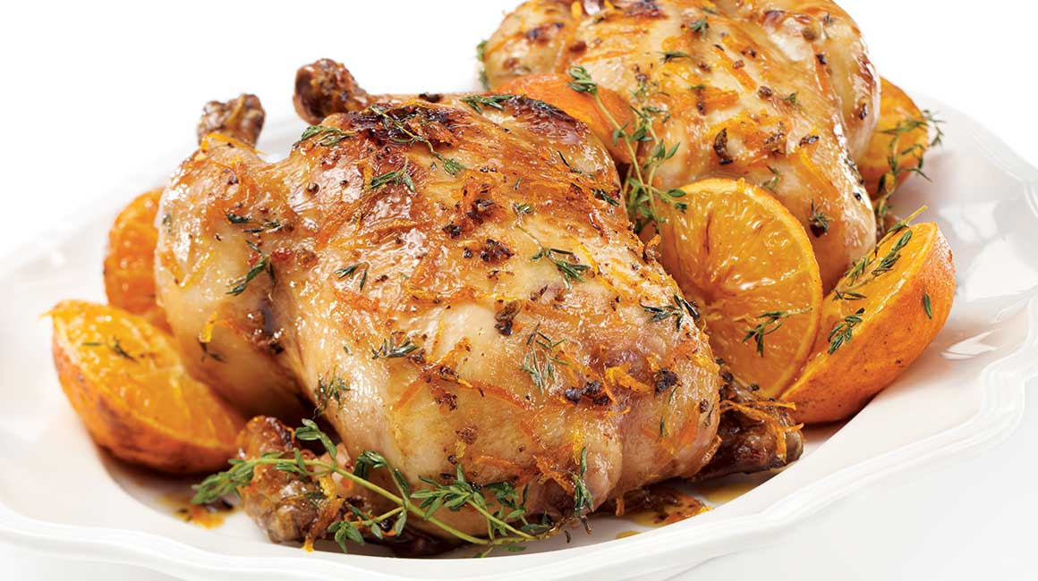 Rock Cornish hens with clementines, juniper berries, and maple syrup