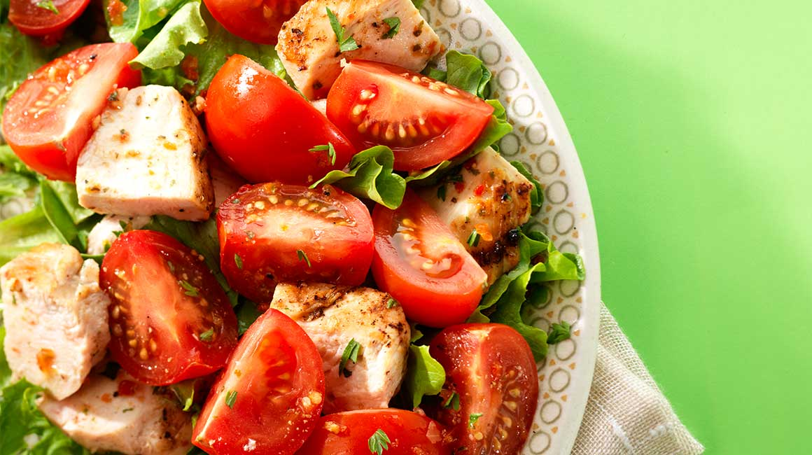 Grilled Chicken and Tomato Salad with Parmesan Vinaigrette