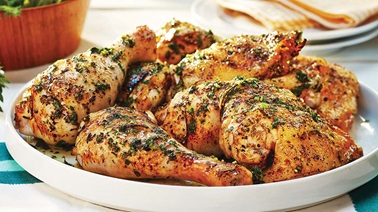 Grilled chicken with quick lemon and herb sauce