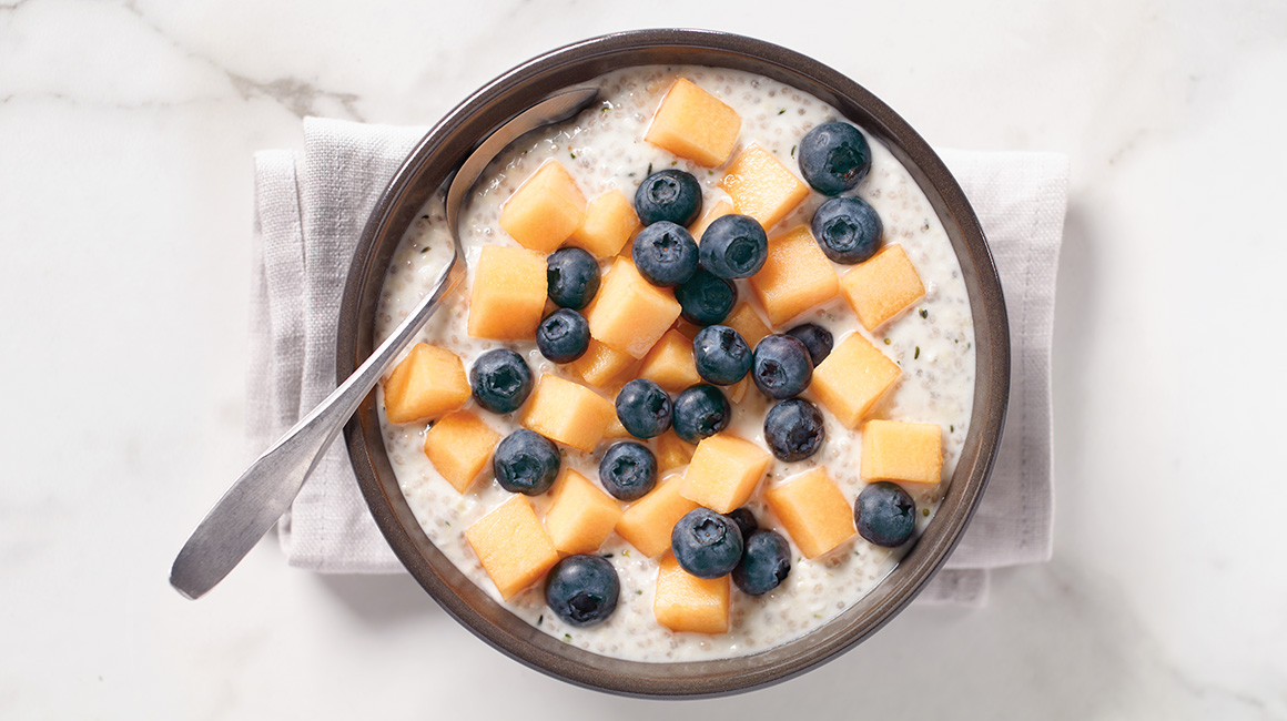 Coconut Chia and Hemp Pudding with Cantaloupe and Quebec Blueberries
