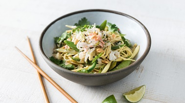Fresh Pasta with Lobster, Green Beans, Snow Peas, and a Coconut-Sesame Sauce