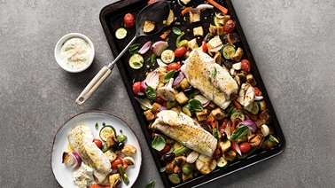 Paprika Cod Panzanella with Tomatoes Olives and Peppers