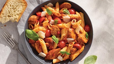 Penne with Vegetarian Sausage