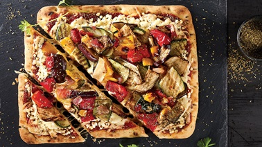 Grilled Veggie, Goat Cheese and Herbes de Provence Pizza