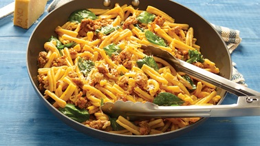 Stefano faita's one-potan pasta with sausage and spinach