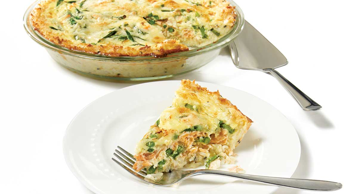Smoked salmon and asparagus quiche with rice crust