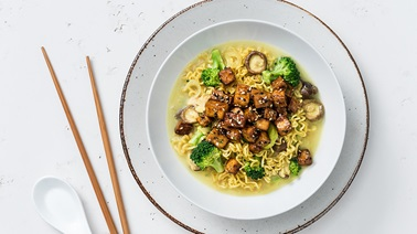 Coconut Curry Ramen with Tofu & Broccoli