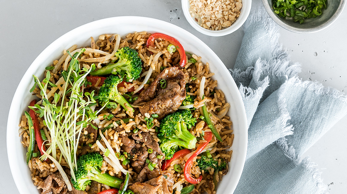 Fried Rice with Beef Strips Broccoli Sweet Soy Sauce and Sesame