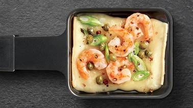 Fritz Raclette cheese with shrimp and sour cream